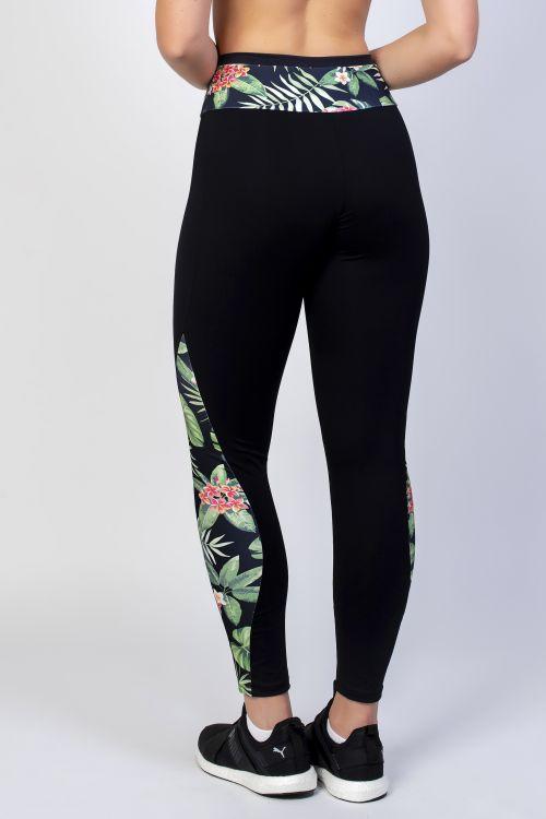 b550439fd61bdd Calça Legging Preta Com Detalhe Em Estampa de Folhas Verdes Na Lateral e  Cintura