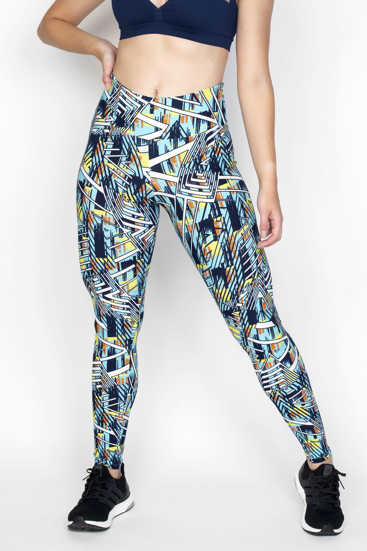 887149d3c Calça Legging Azul Claro Com Estampa Riscada Em Tons Coloridos - Hipy