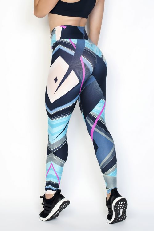 Calça Legging Azul Com Estampa Colorida