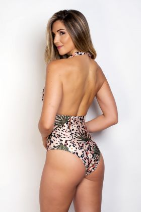 Body Maiô Sublimado Decotado Com Estampa Animal Print E Folhas